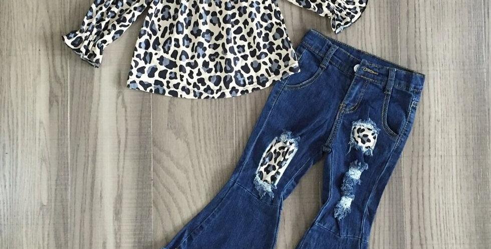 Leopard Print Raglan and Bell Bottom Jean Set