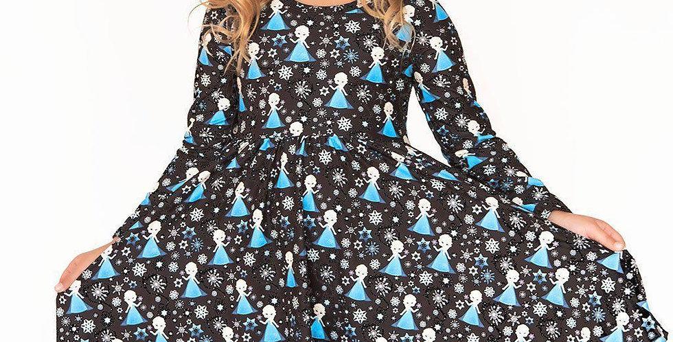 Frozen Princess Long Sleeve Comfort Twirl Dress