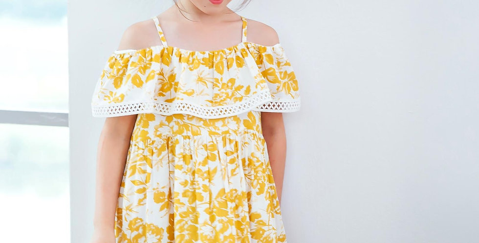Yellow floral off-the-shoulder dress