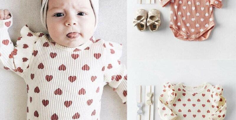 Peach Heart Ruffle Bodysuit