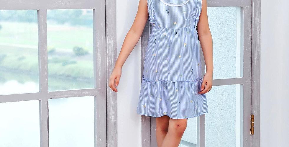 Cotton blue strip fit-n-flare dress