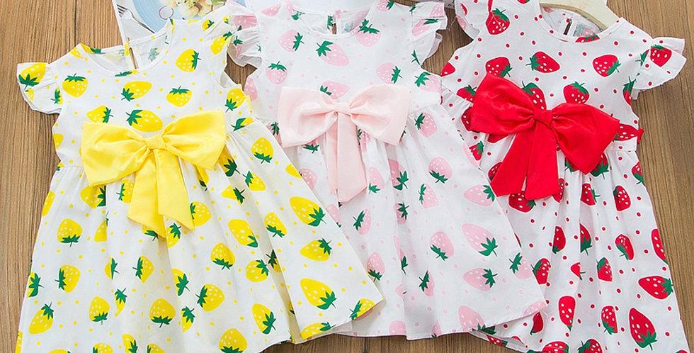 Casual Bowknot Strawberry Print Dress