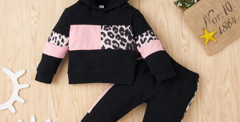 Leopard and Pink Infant Hoodie and Pants Set