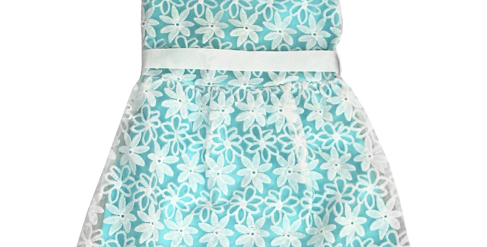 Aqua Blue Sleeveless Floral Design with Back Bow-tie
