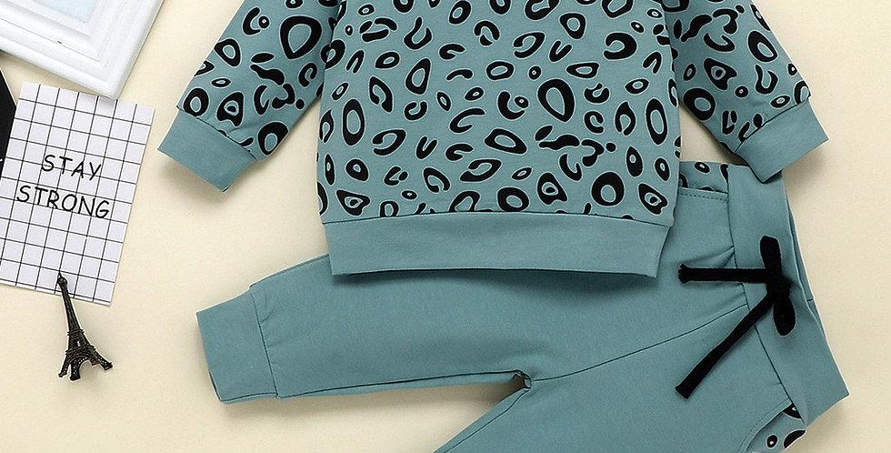 Leopard Print Sweatshirt and Pants Set