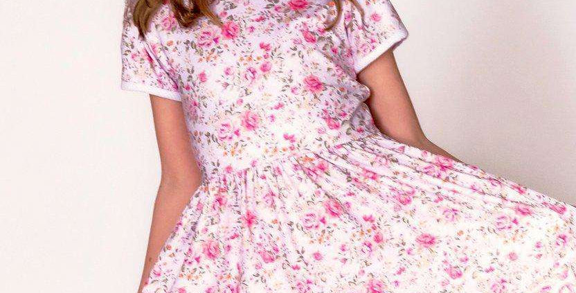 Country Pink Rose Short Sleeve Cloud Soft Cross Back Twirl (Size Up Runs Small)