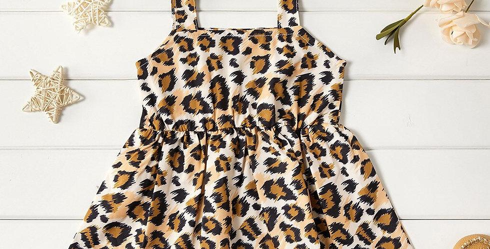 Girls Suspenders Bow Leopard Print Princess Dress