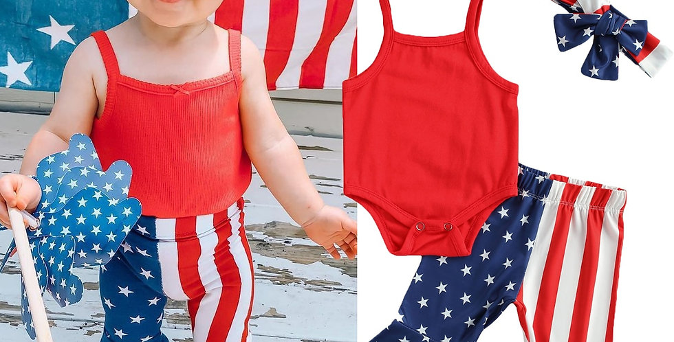 Independence Day Solid Romper Top and Striped Pants