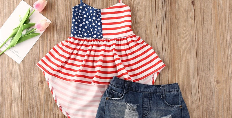 Independence Day Striped Halter Mini Dress Top and Denim Shorts