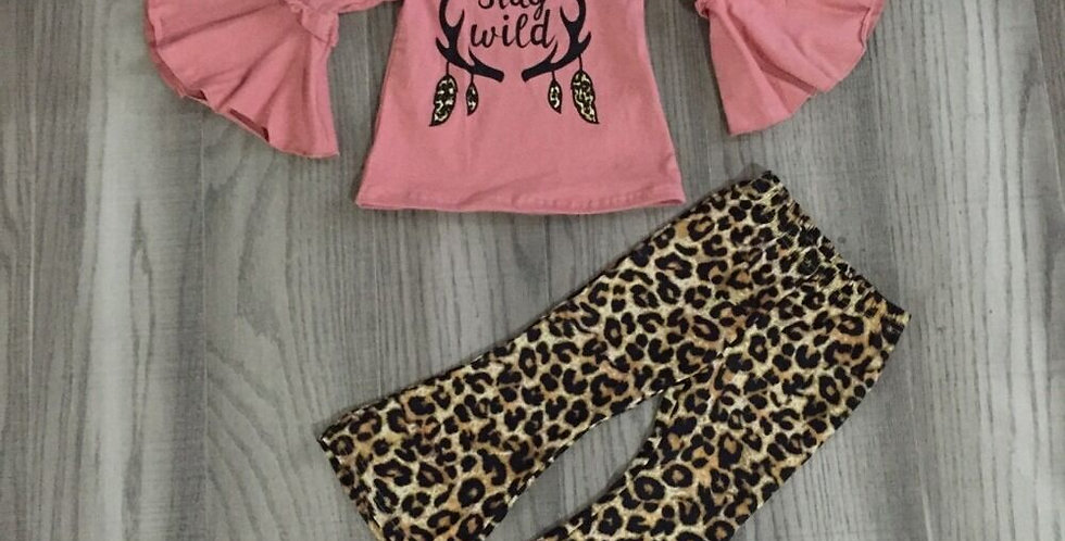 Stay Wild Raglan Top With Leopard Print Pants
