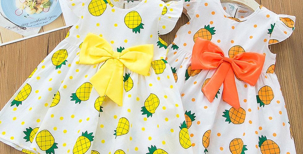 Casual Bowknot Pineapple Print Dress