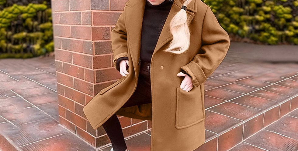 Girls Long Sleeve Solid Color Coat