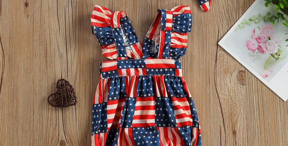 Fly Sleeve Independence Day Print Romper with Headband