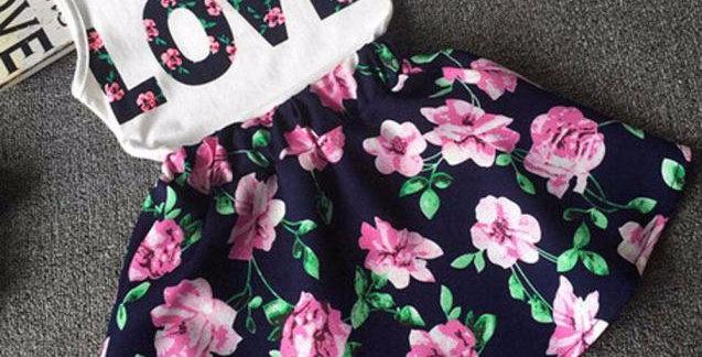 Girls Love Letters Printed Sleeveless Dress