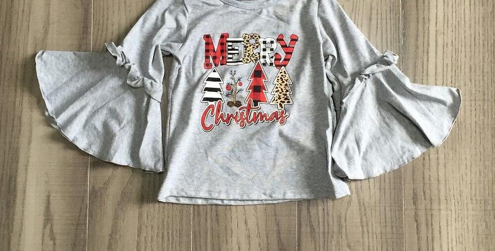 Girls Winter Raglan Christmas Tree Shirt w/ Bell Sleeve