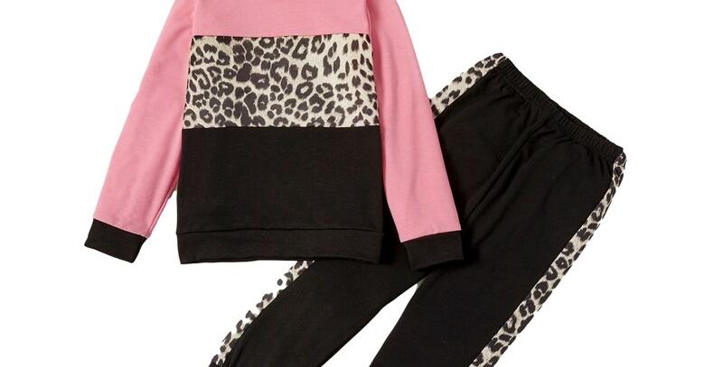 Leopard Hooded Sweatshirt and Pants Set