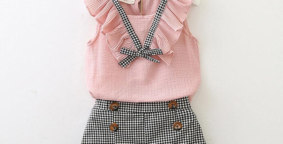 Girls Bowknot Sleeveless Vest Top+Plaid Shorts Set
