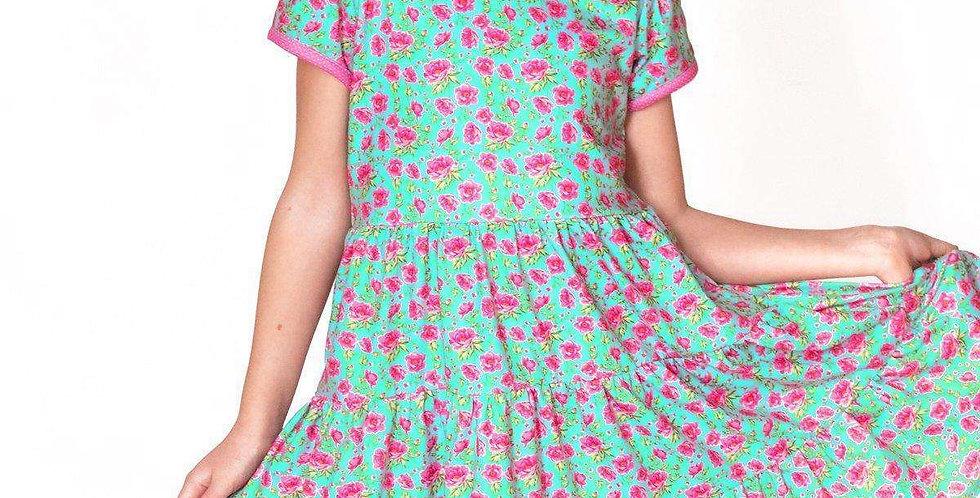 Mini Roses Short Sleeve Cloud Soft Cross Back Twirl Dress