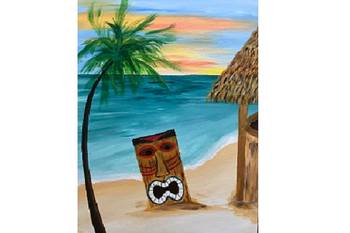 """Tiki"" Acrylic Painting on 16 x 20 Canvas"