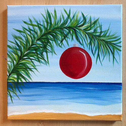 """Florida Christmas""    Acrylic Painting on 12 x 12 Canvas"