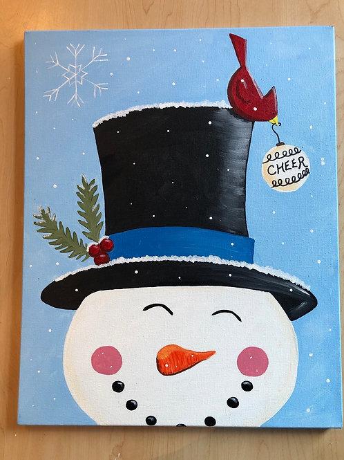 """""""Snowman"""" Acrylic Painting on 16 x 20 Canvas"""