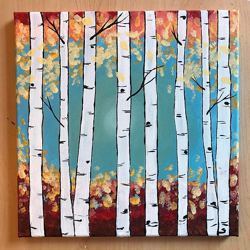 """Birch Trees"" Acrylic Painting on 12 x 12 Canvas"