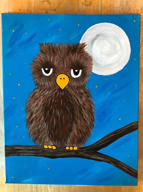 """Night Owl"" Acrylic Painting 16x20 Canvas"