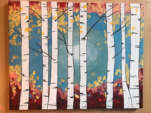 """Birch Trees"" Acrylic Painting on 16 x 20 Canvas"