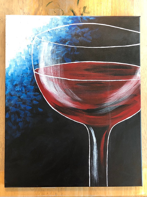 """Glass of Vino"" Acrylic Painting on 16x20 Canvas"