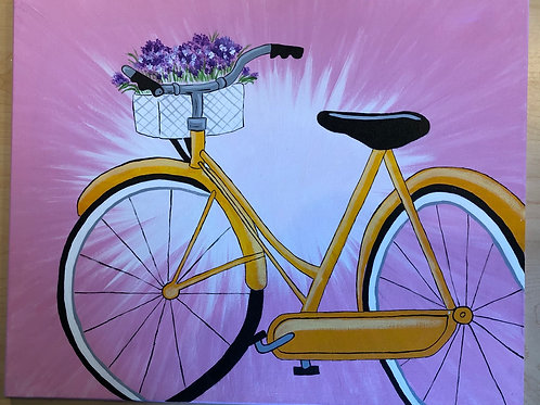"""Bicycle"" Acrylic Painting on 16 x 20 Stretched Canvas"