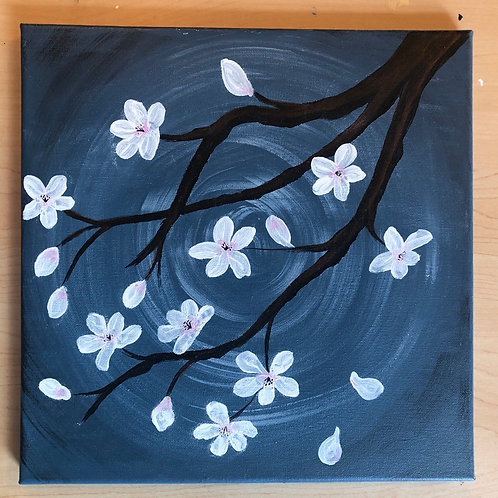 """Cherry Blossoms"" Acrylic Painting on 12 x 12 Canvas"