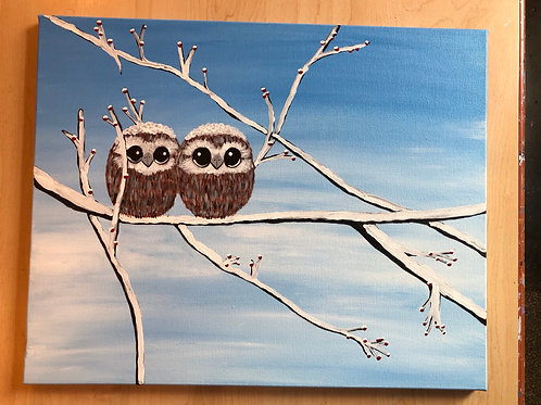 """""""Baby Owls"""" Acrylic Painting on 16 x 20 Stretched Canvas"""