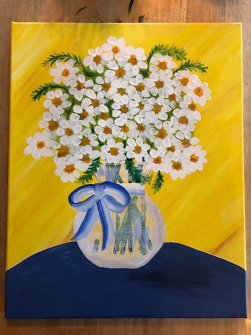 """Vase of Daisies"" Acrylic Painting on 16x20 Canvas"