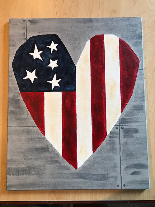 """""""Country Heart"""" Acrylic Painting on 16 x 20 Canvas"""