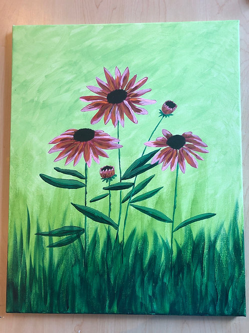 """Field Flowers"" Acrylic Painting on 16 x 20 Canvas"