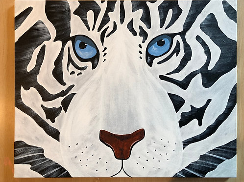 """""""White Tiger"""" Acrylic Painting on 16 x 20 Canvas"""