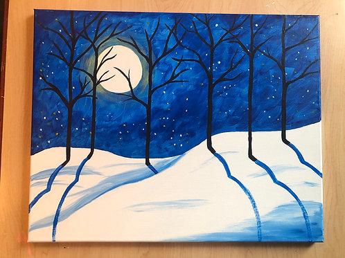"""Snowy Night"" Acrylic Painting on 16 x 20 Canvas"