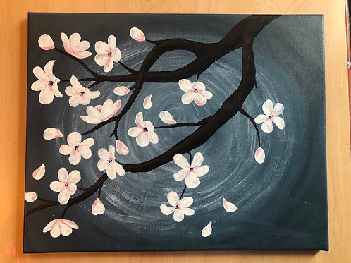 """Cherry Blossoms"" Acrylic Painting on 16 x 20 Canvas"