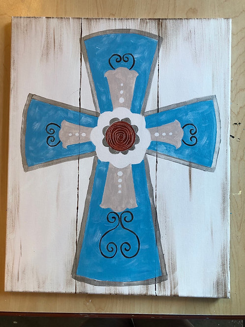 """Rustic Cross"" Acrylic Painting on 16 x 20 Canvas"