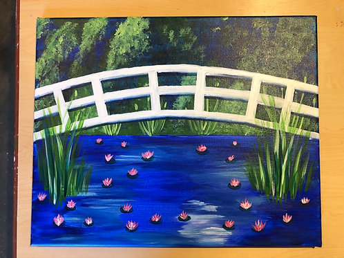 """Bridge over Lilies"" Acrylic Painting on 16 x 20 Canvas"