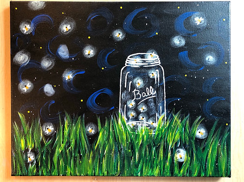 """Fireflies"" Acrylic Painting 16 x 20 Canvas"