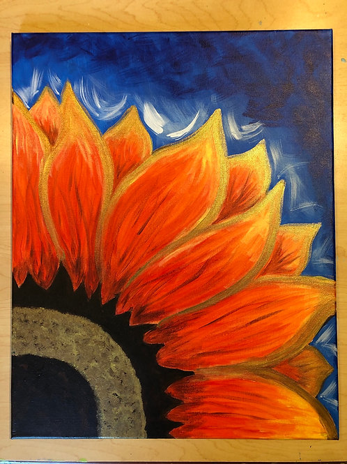 """Red Sunflower"" Acrylic Painting on 16 x 20 Canvas"