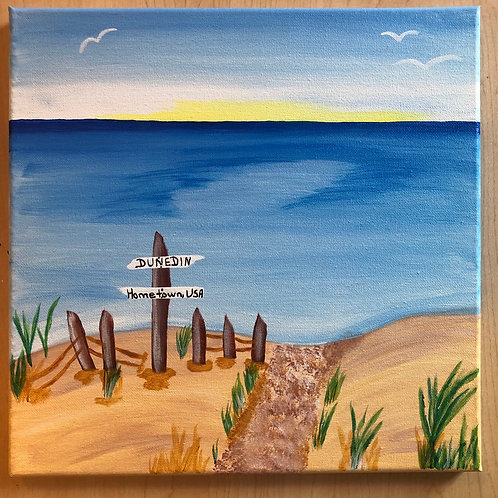"""Dunedin Beach"" Acrylic Painting on 12 x 12 Canvas"