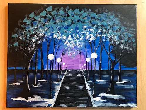 """Midnight Stroll"" Acrylic Painting on 16"" x 20"" Stretched Canvas"