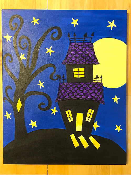 """""""Spooky House"""" Acrylic Painting on 16 x 20 Canvas"""