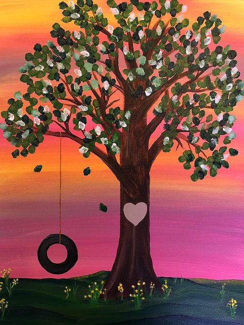 """Tree Swing"" Acrylic Painting on 16x20 Canvas"