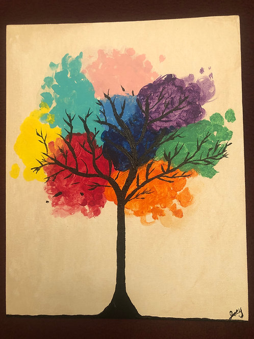 """Rainbow Tree"" Acrylic Painting on 8 x 10 Canvas Panel"