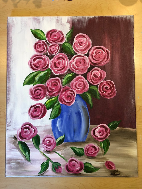 """Vase of Roses"" Acrylic Painting on 16 x 20 Canvas"