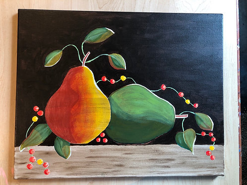 """Pears and Bittersweet"" Acrylic Painting on 16 x 20 Canvas"