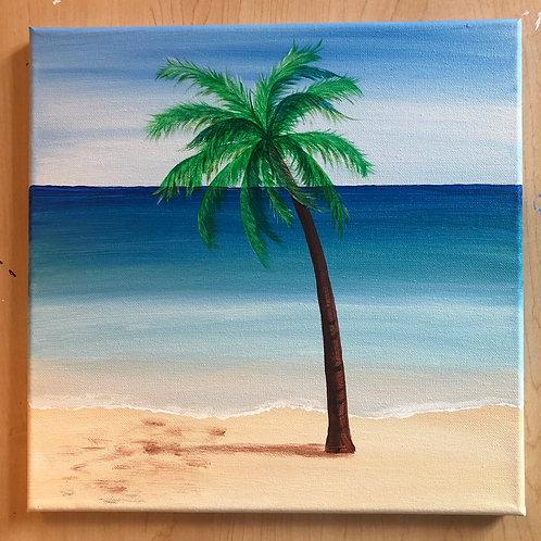 """Palm Tree"" Acrylic Painting on 12 x 12 Canvas"
